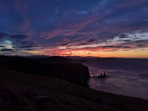 Sunset over the sea on the Isle of Skye
